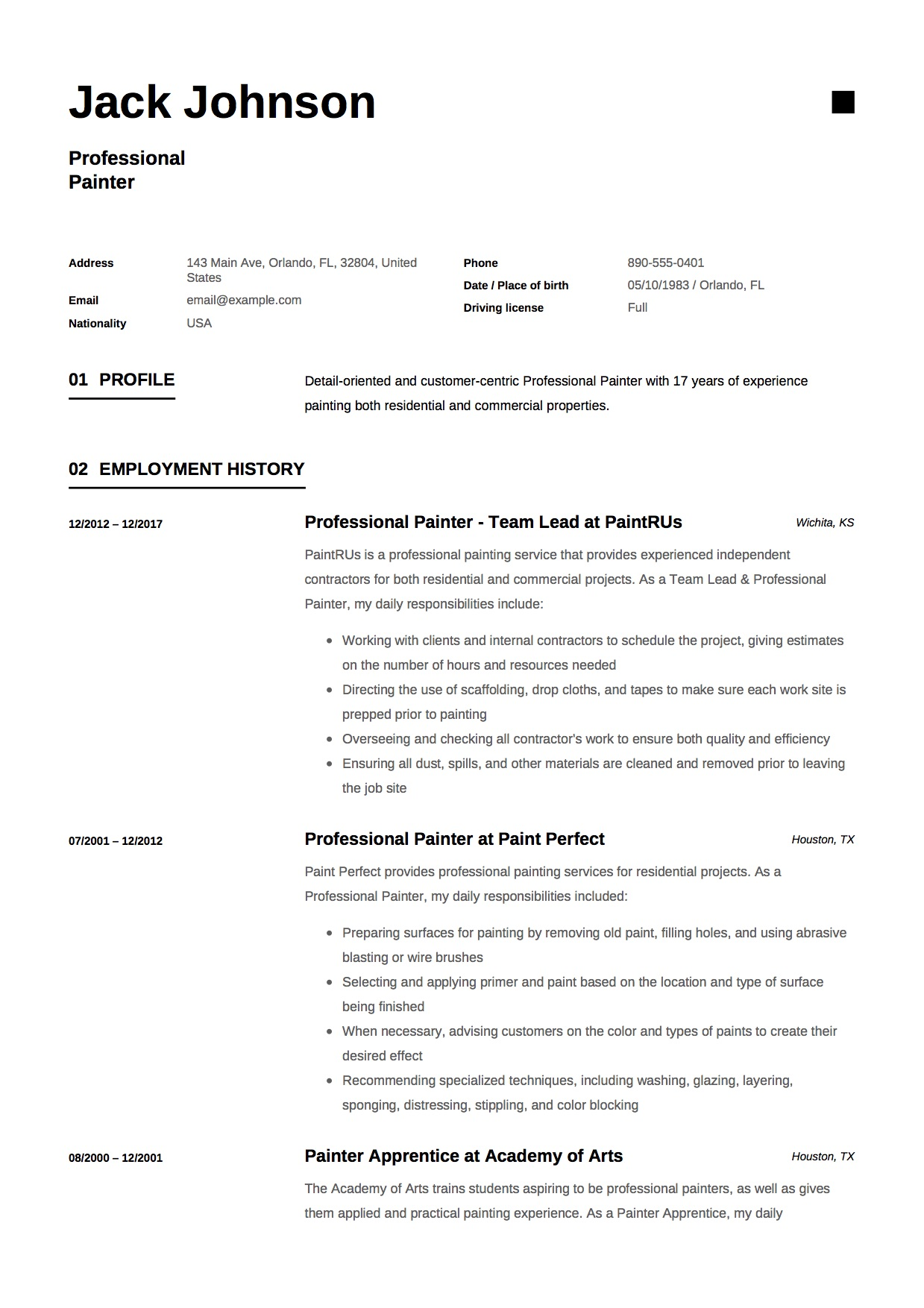 painter resume sample creative marketing resume samples creative