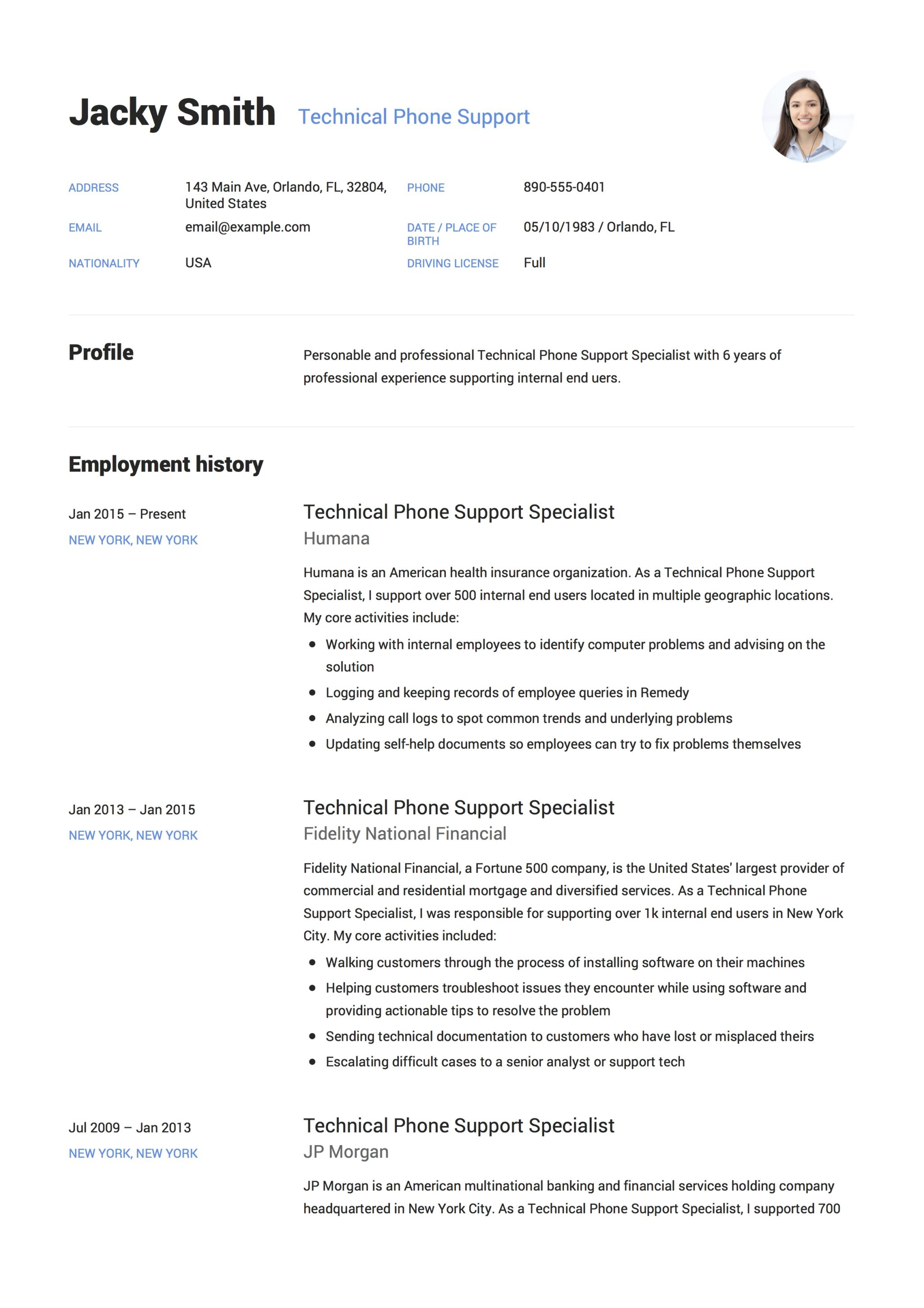 Resume Sample Technical Phone Support 1