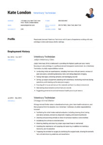 Resume Sample Veterinary Technician