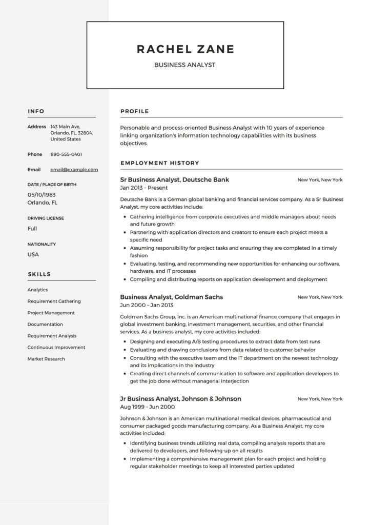 resume template business analyst