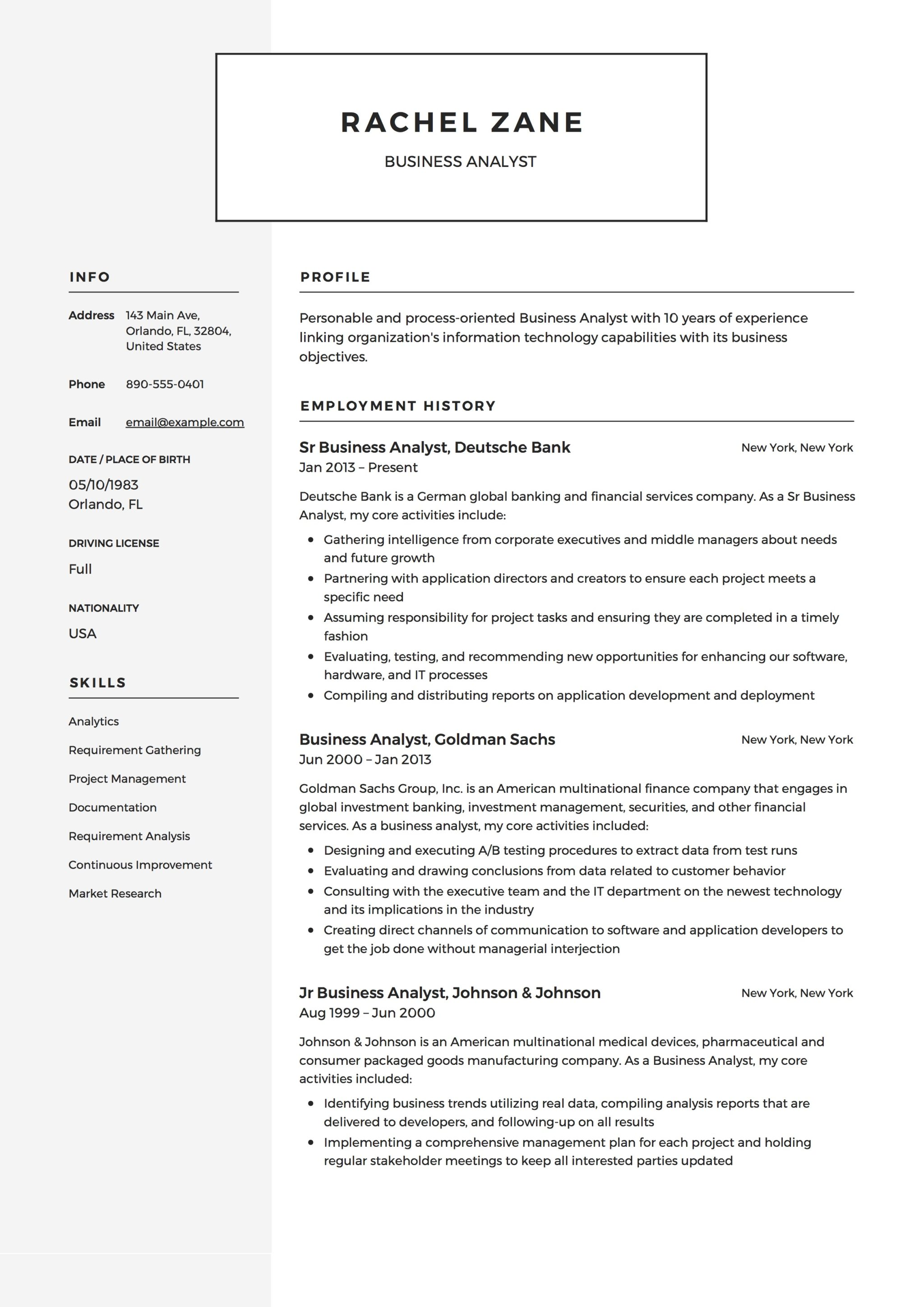 Resume Template Business Analyst  Sample Business Analyst Resume