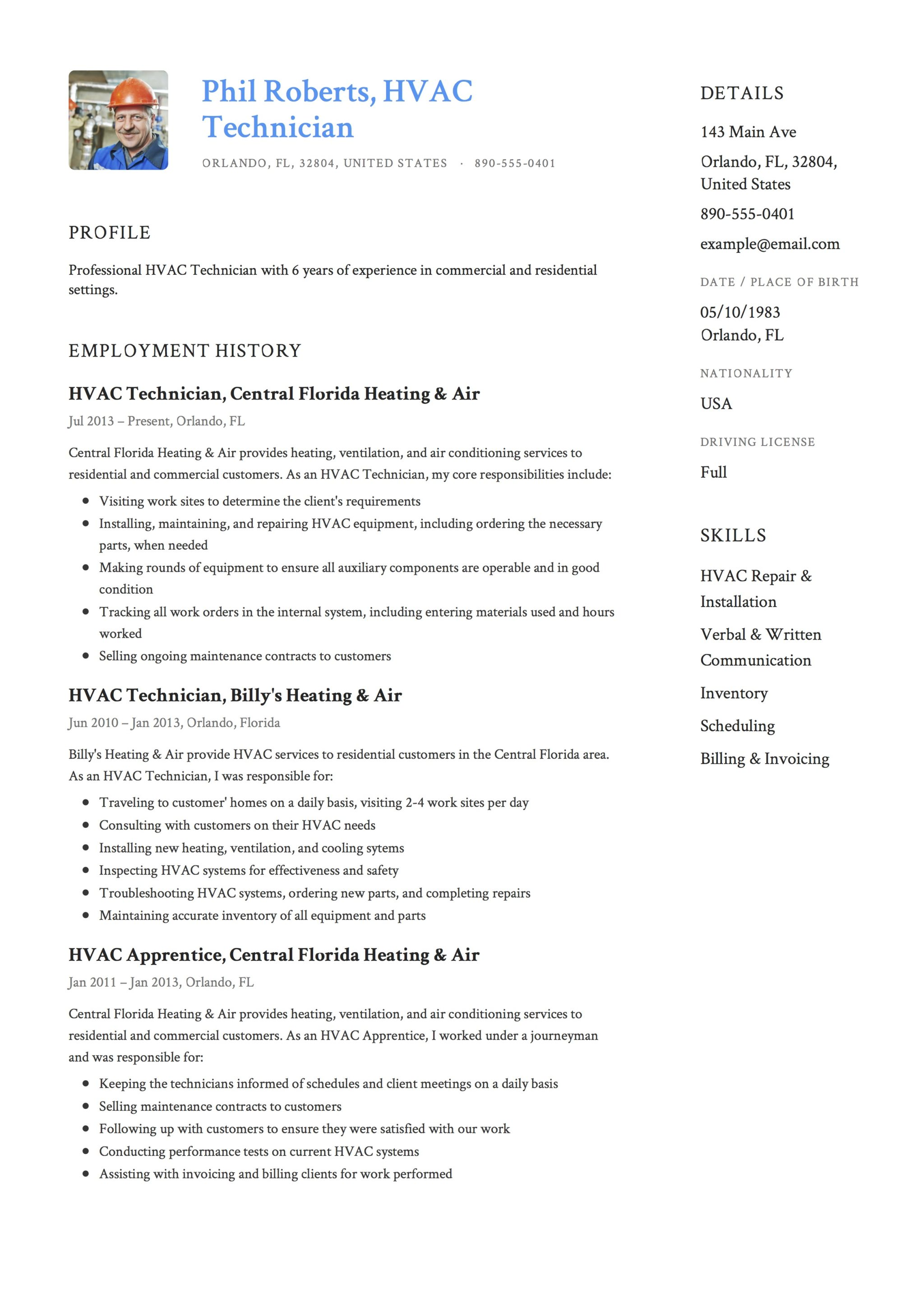 Resume Template HVAC Technician