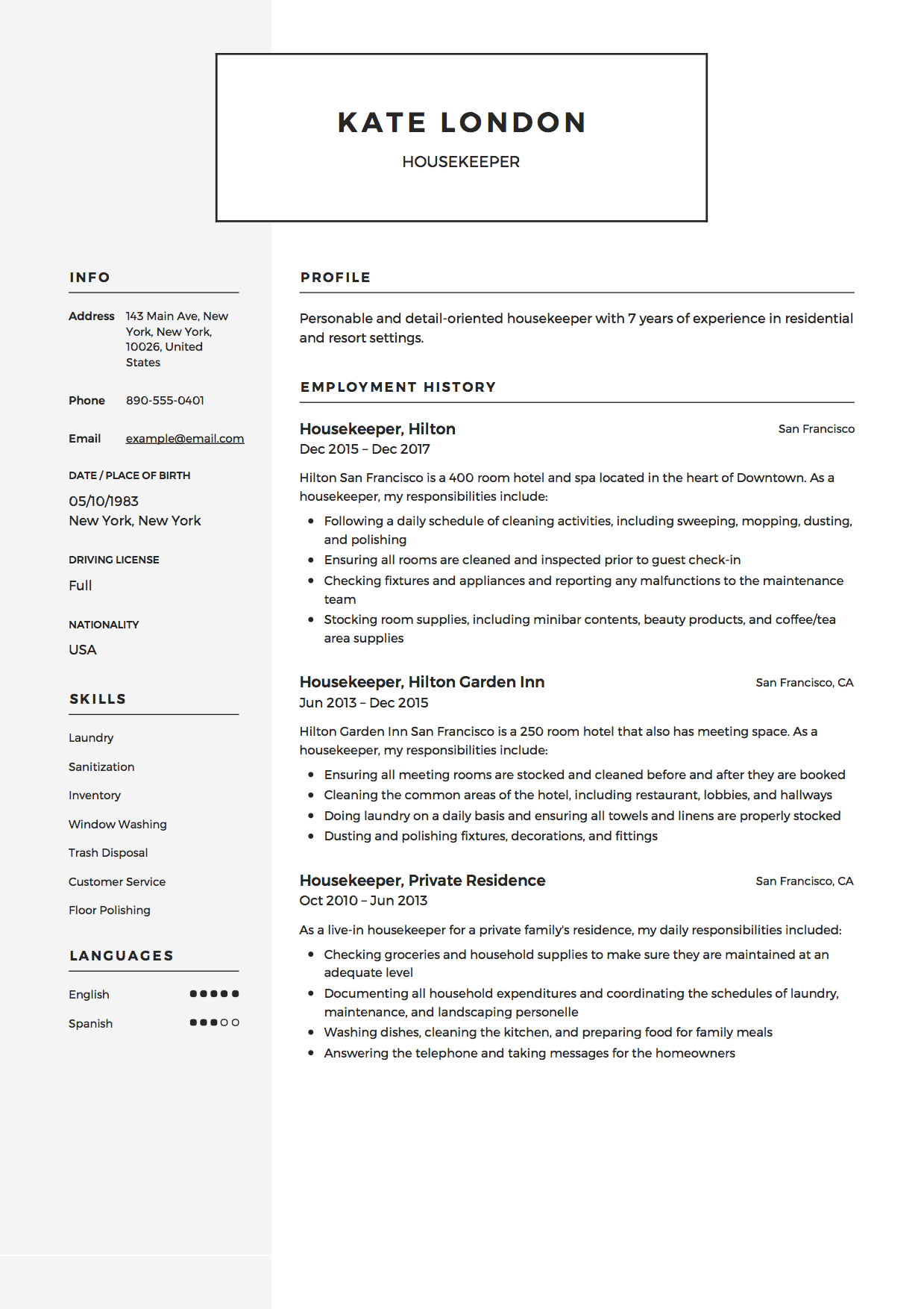 Resume Template Housekeeper