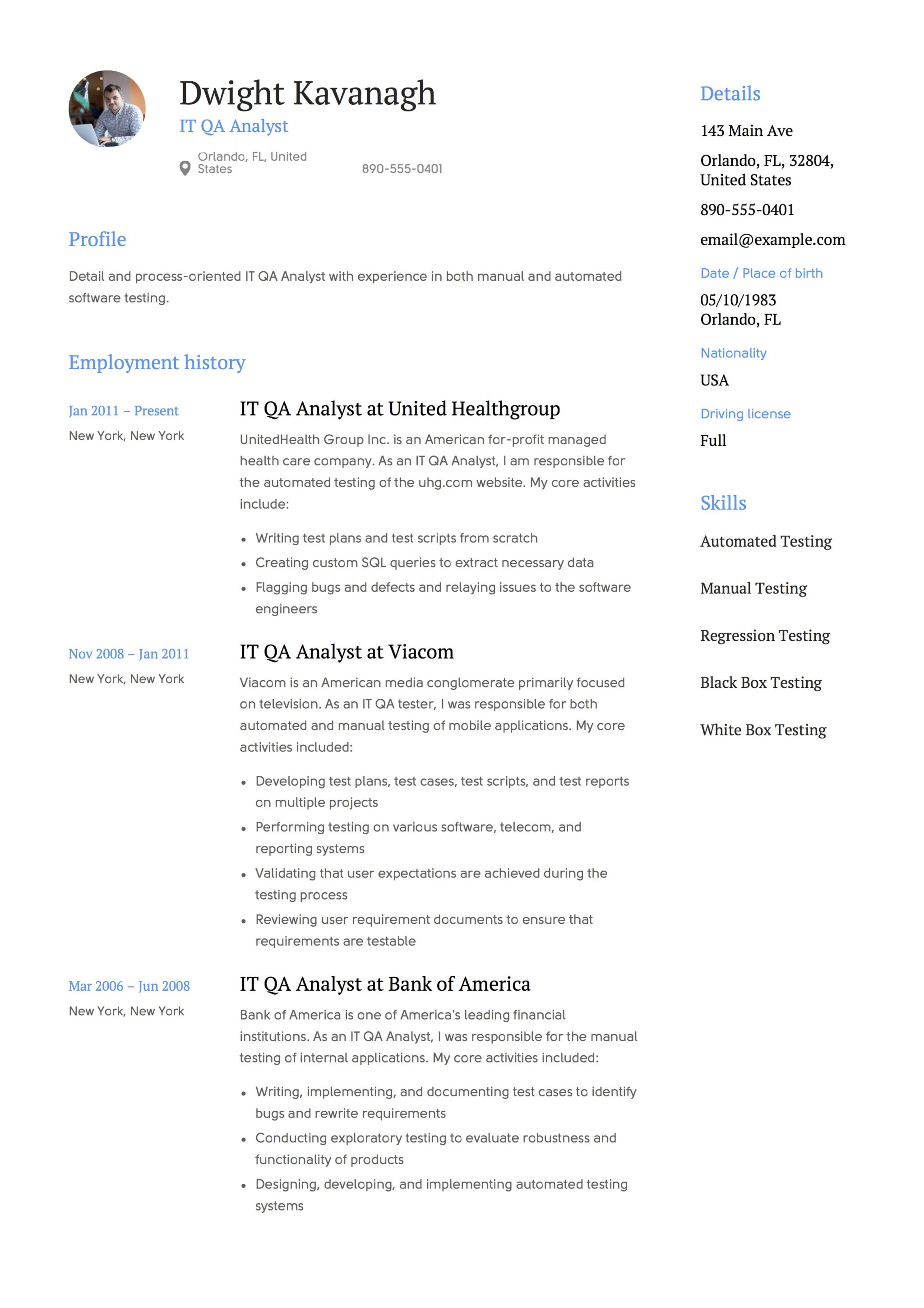 Resume Template IT QA Analyst  Qa Resume