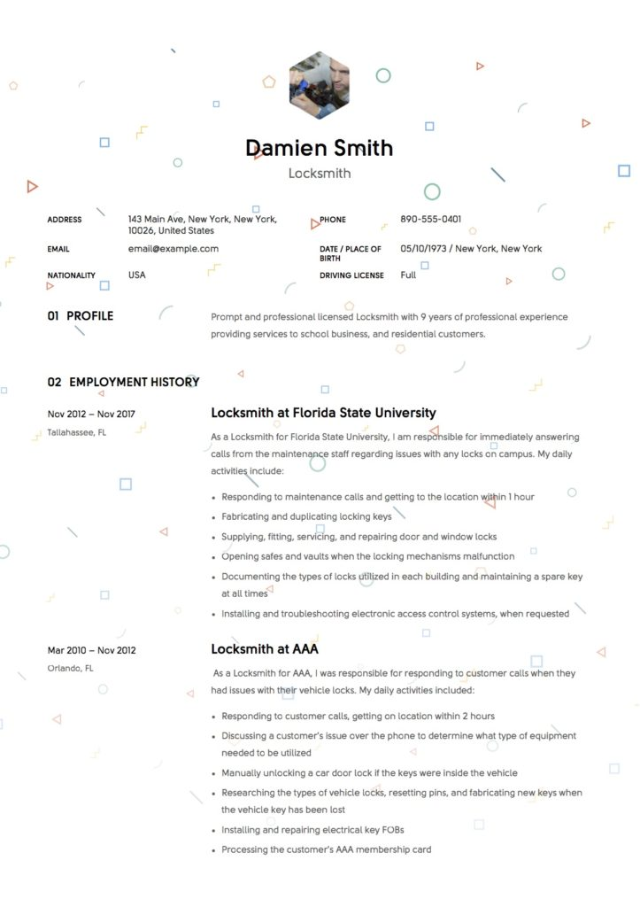 Resume Template Locksmith