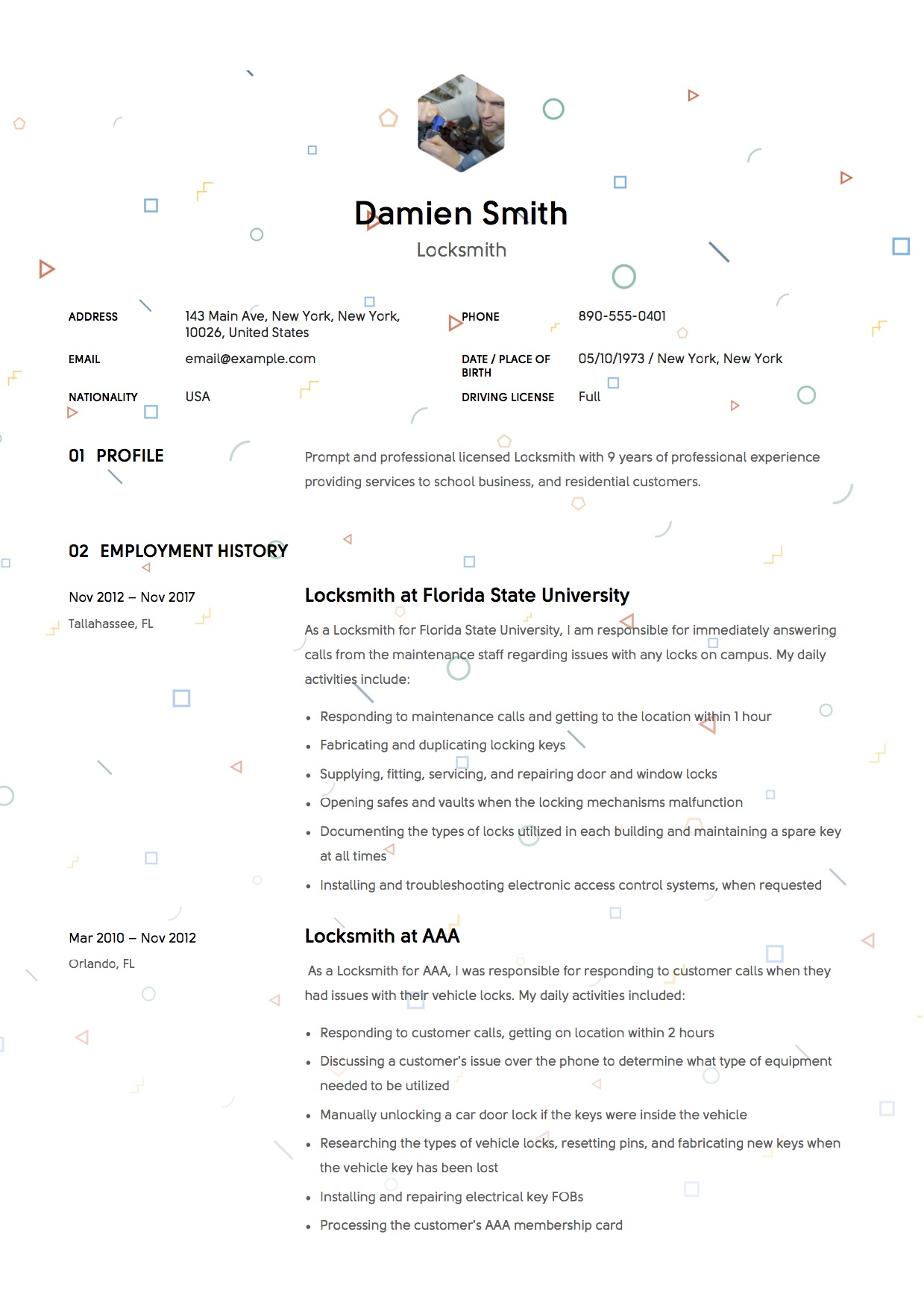 Locksmith Resume SampleS   Free Downloads