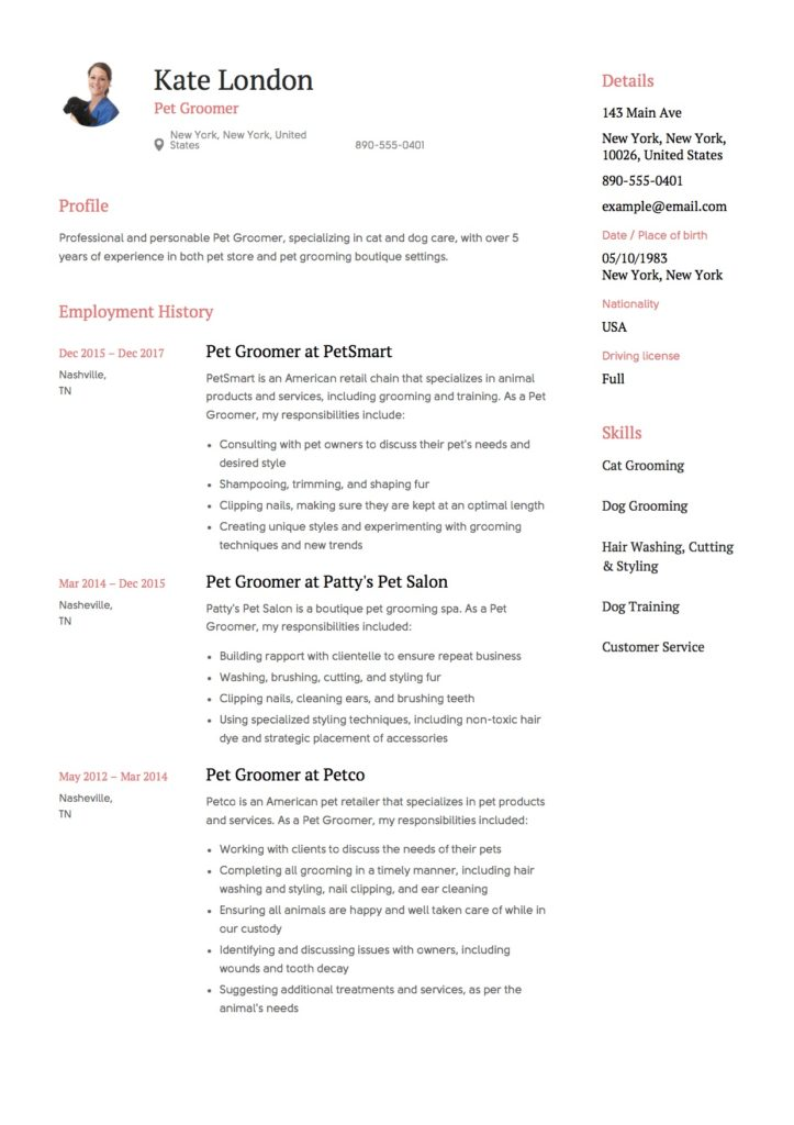 Resume Template Pet Groomer  Dog Groomer Resume