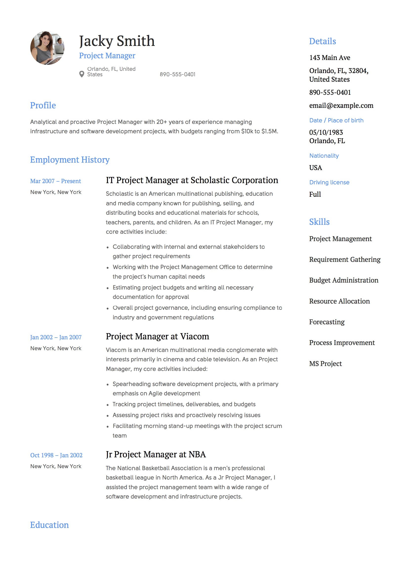 resume template project manager