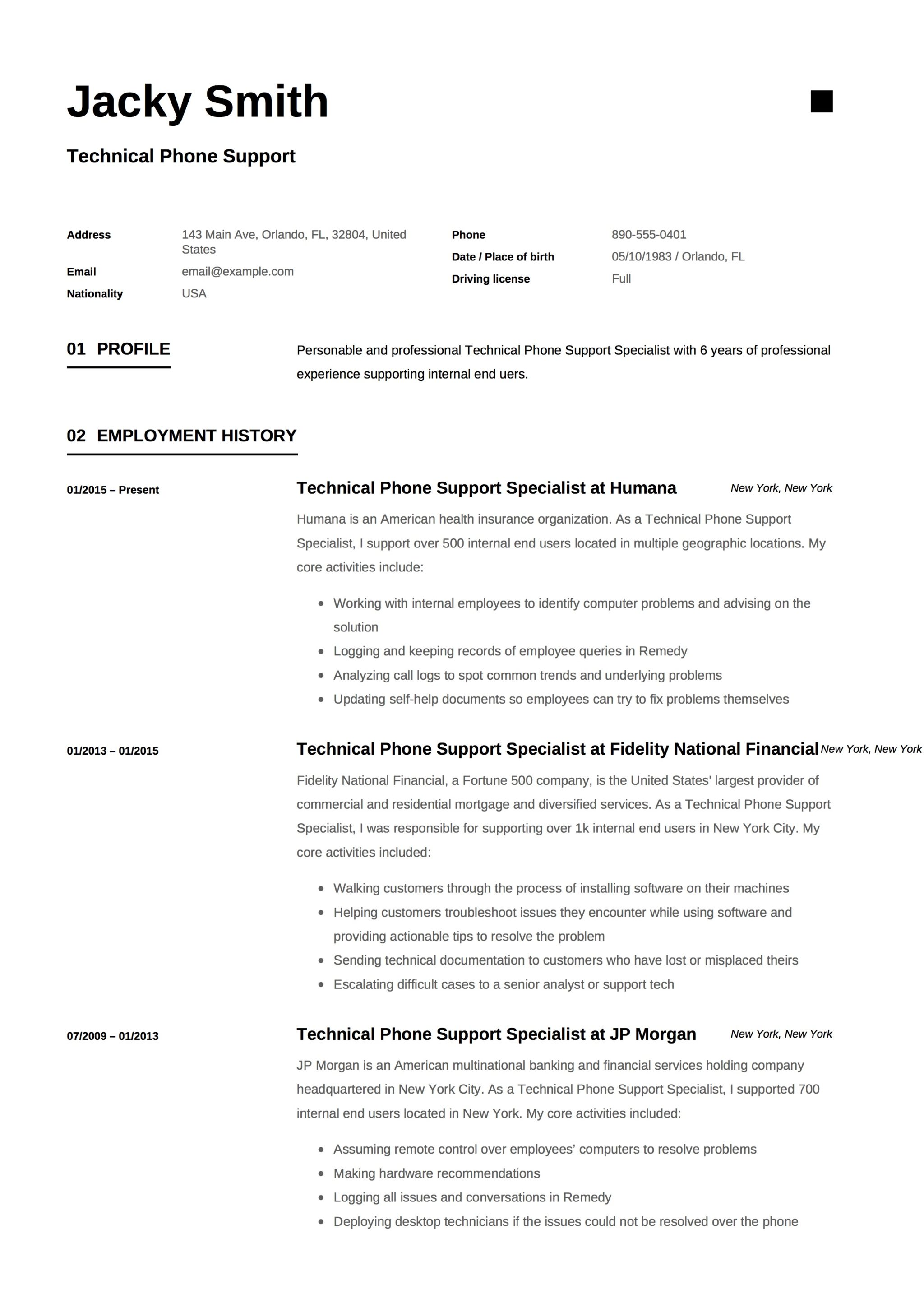 Resume Template Technical Phone Support 1