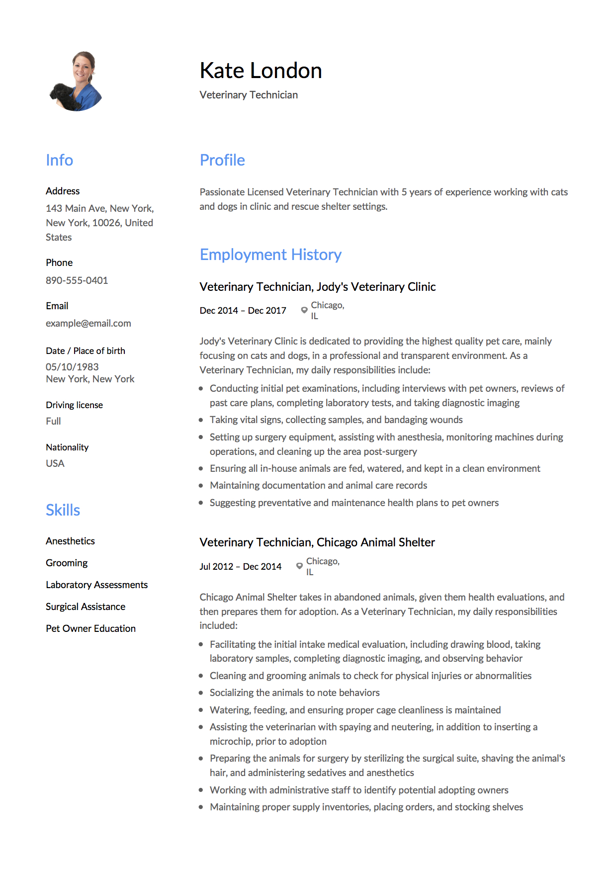 Resume Template Veterinary Technician