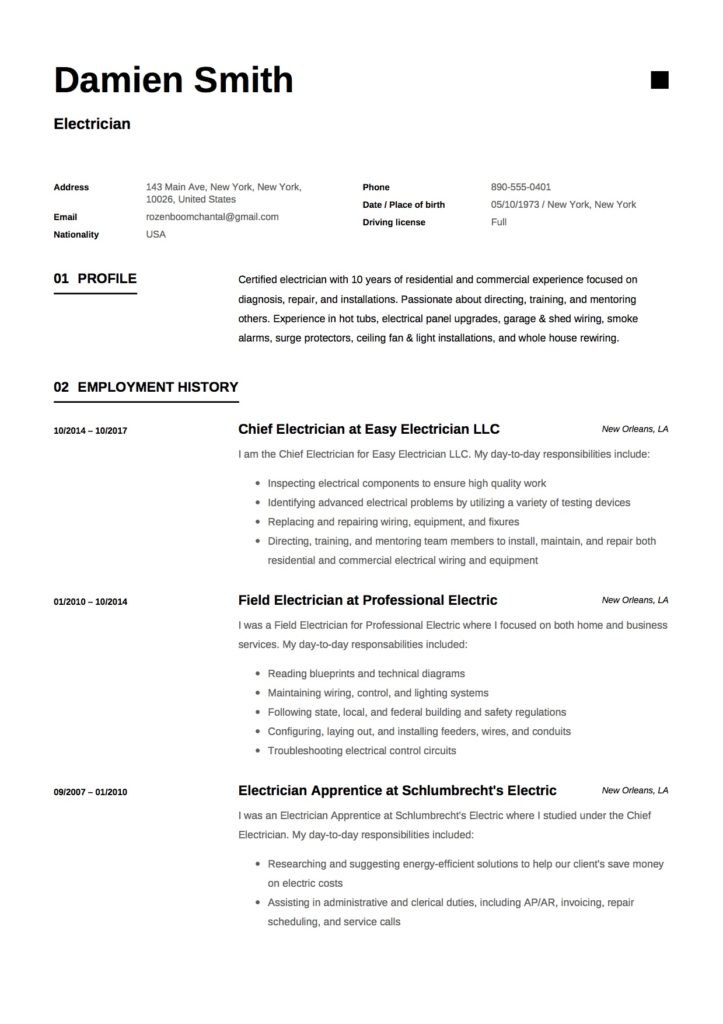 Sample-CV-Electrician-723x1024 Teacher Platform Examples on when campaigning, companies revenue, what is political,
