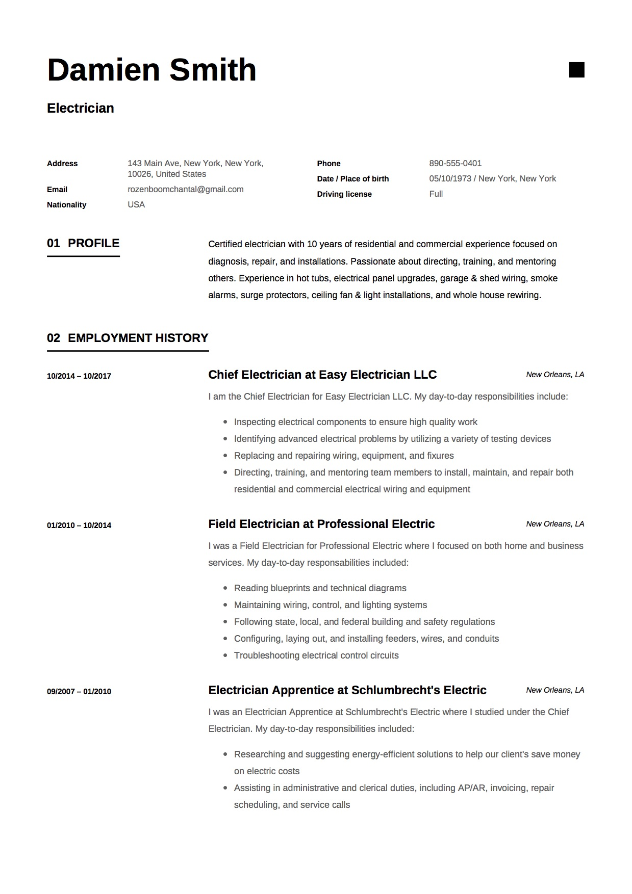 12x free electrician resume template