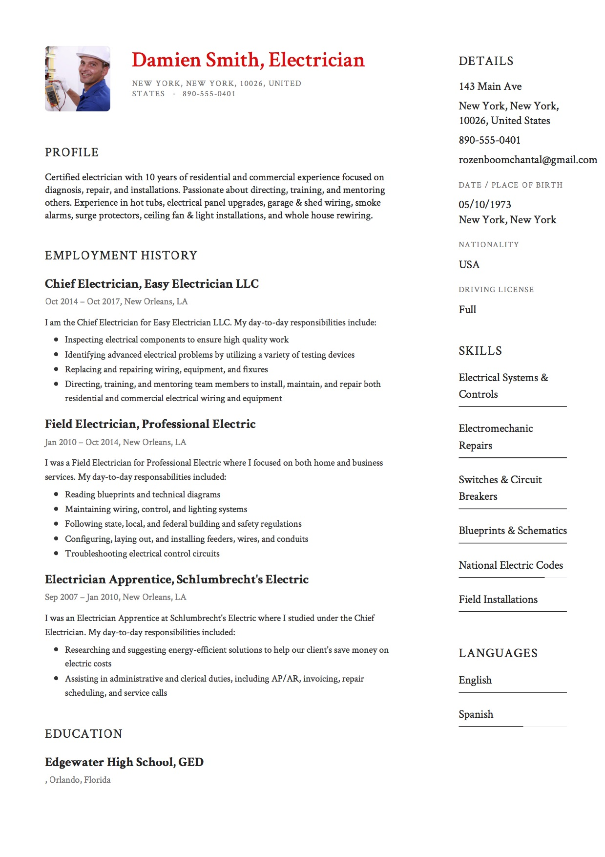 sample resume electrician - Resume For Electrician