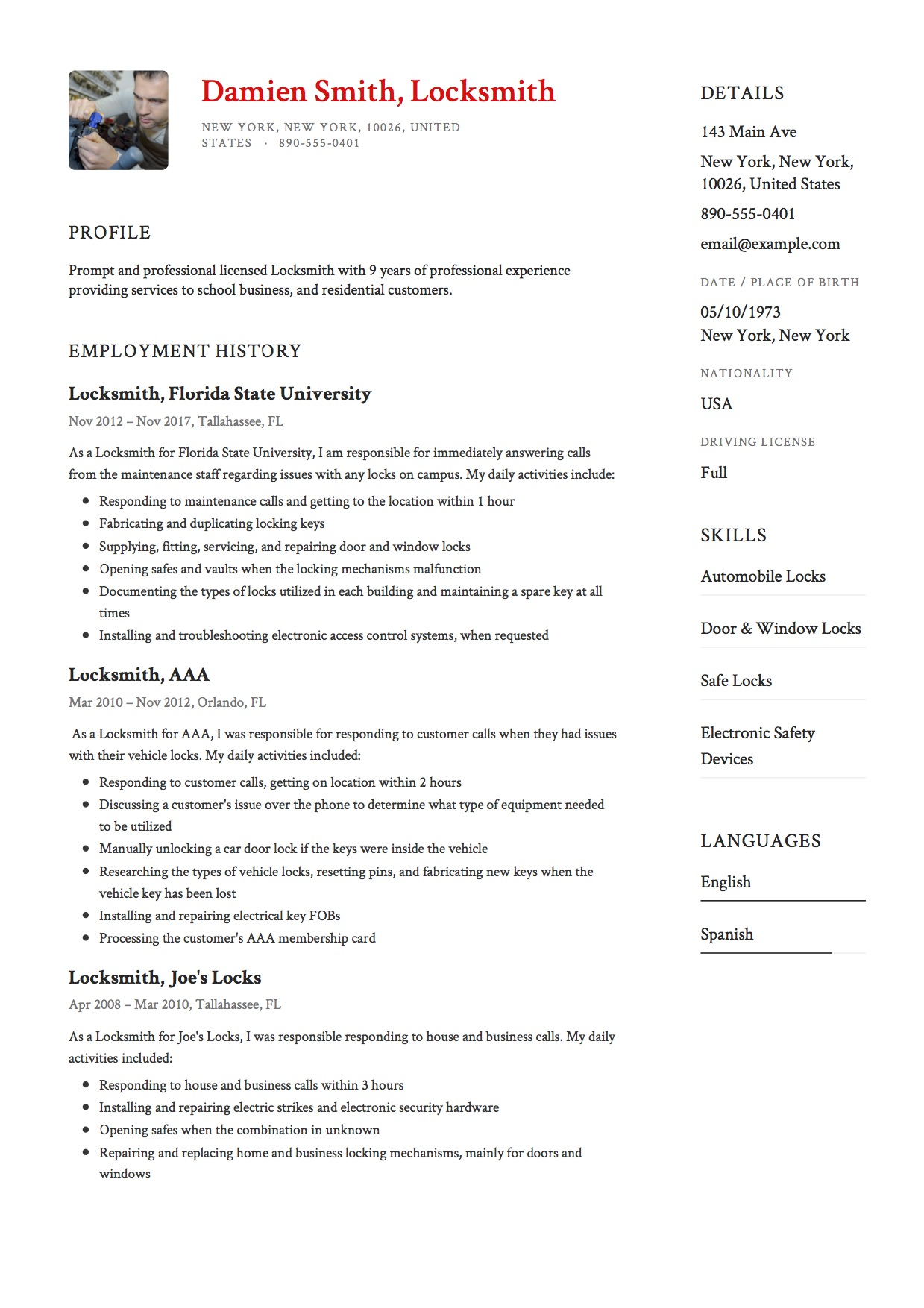 Sample Resume Locksmith