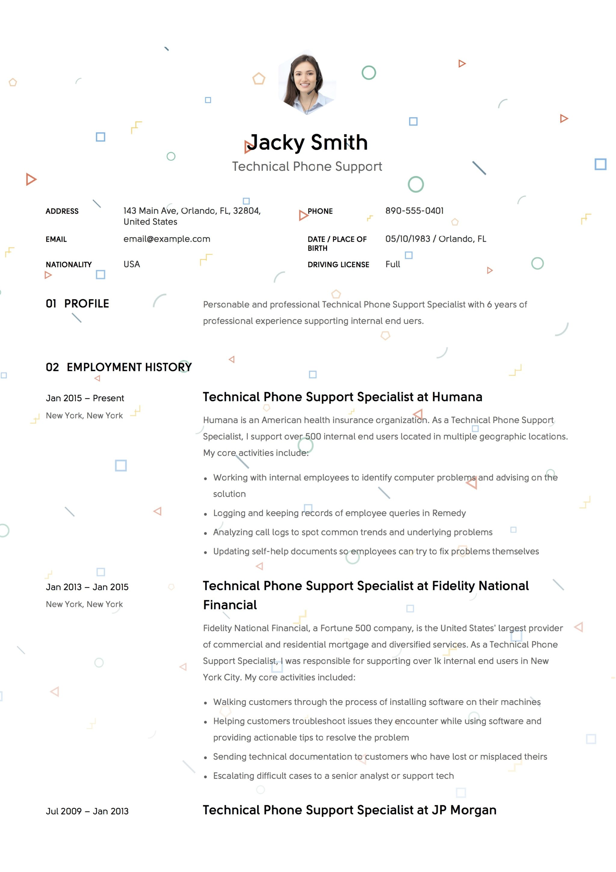 Sample Resume Technical Phone Support 1