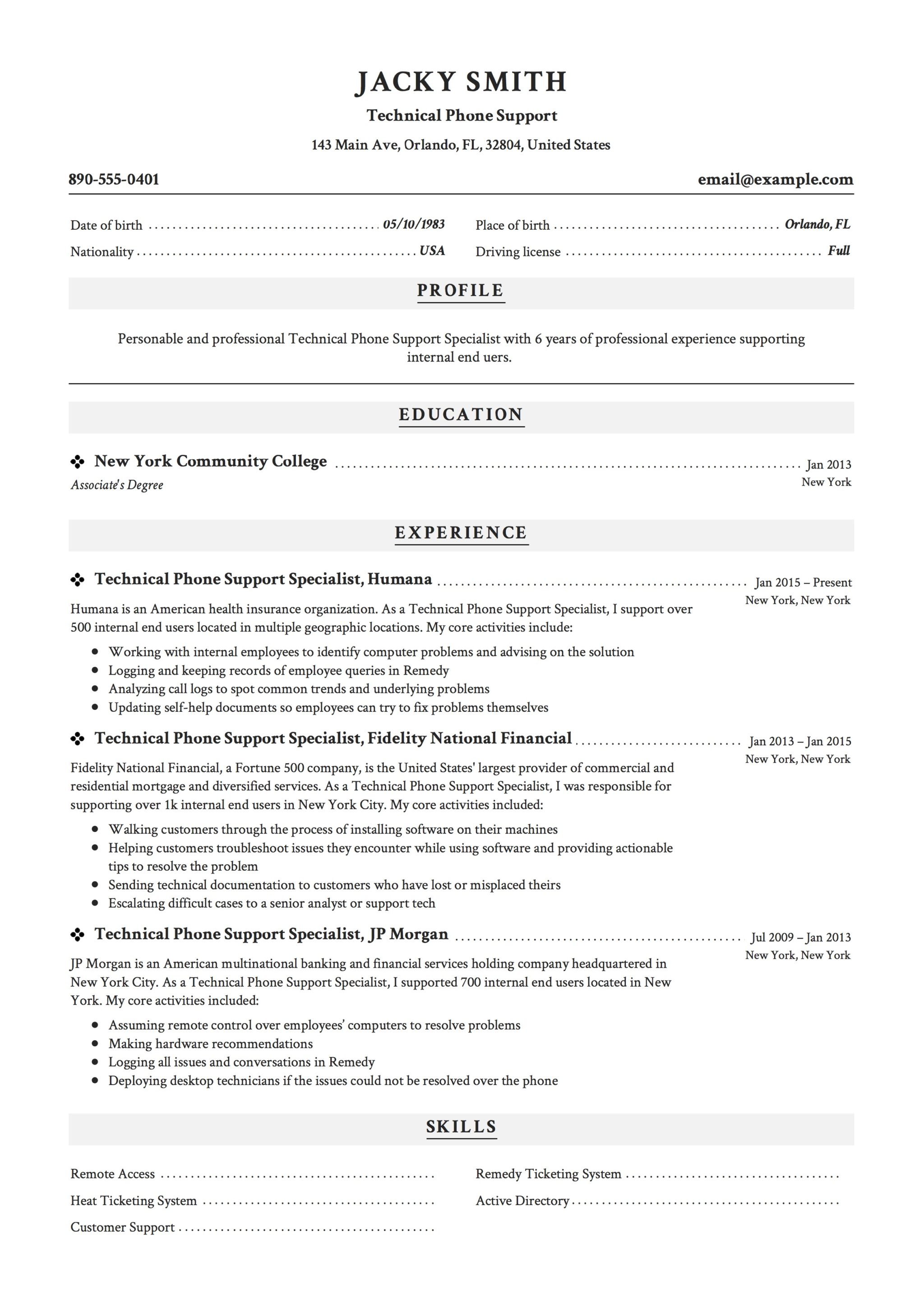 Technical Phone Support Resume Example