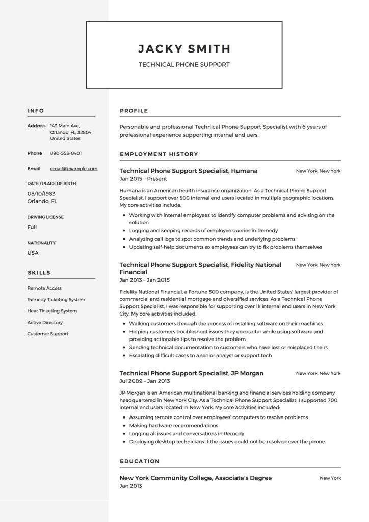 Technical Phone Support Resume Template