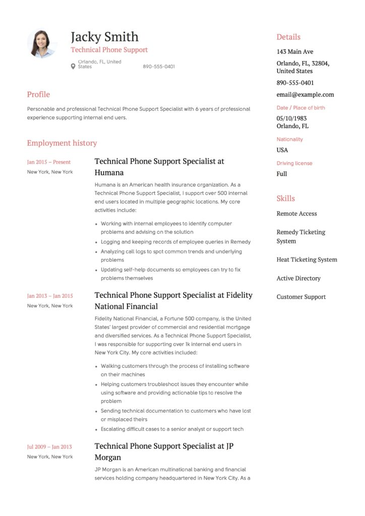 Template Resume - Technical Phone Support