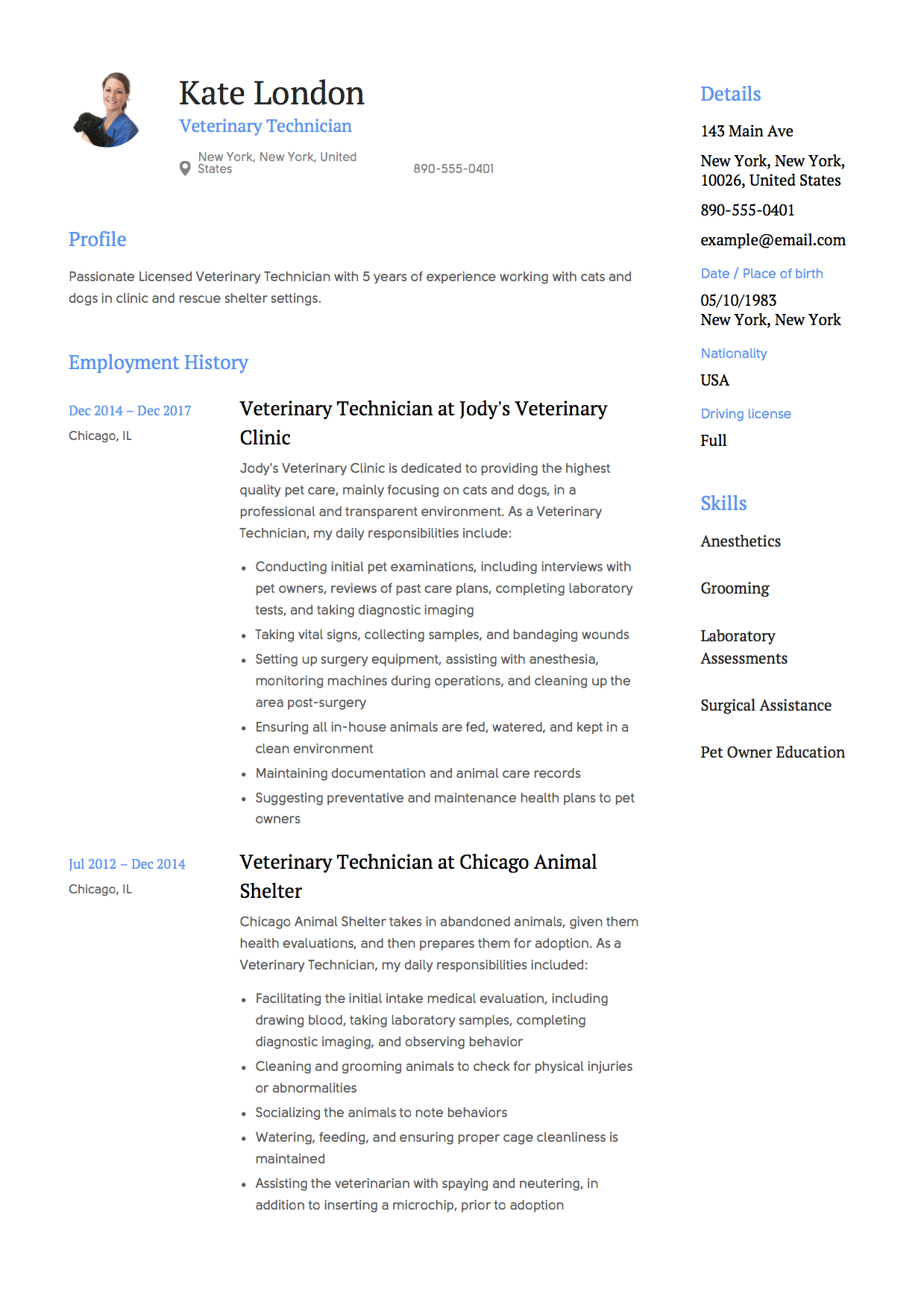 Veterinary Technician Resume 5 Years Experience