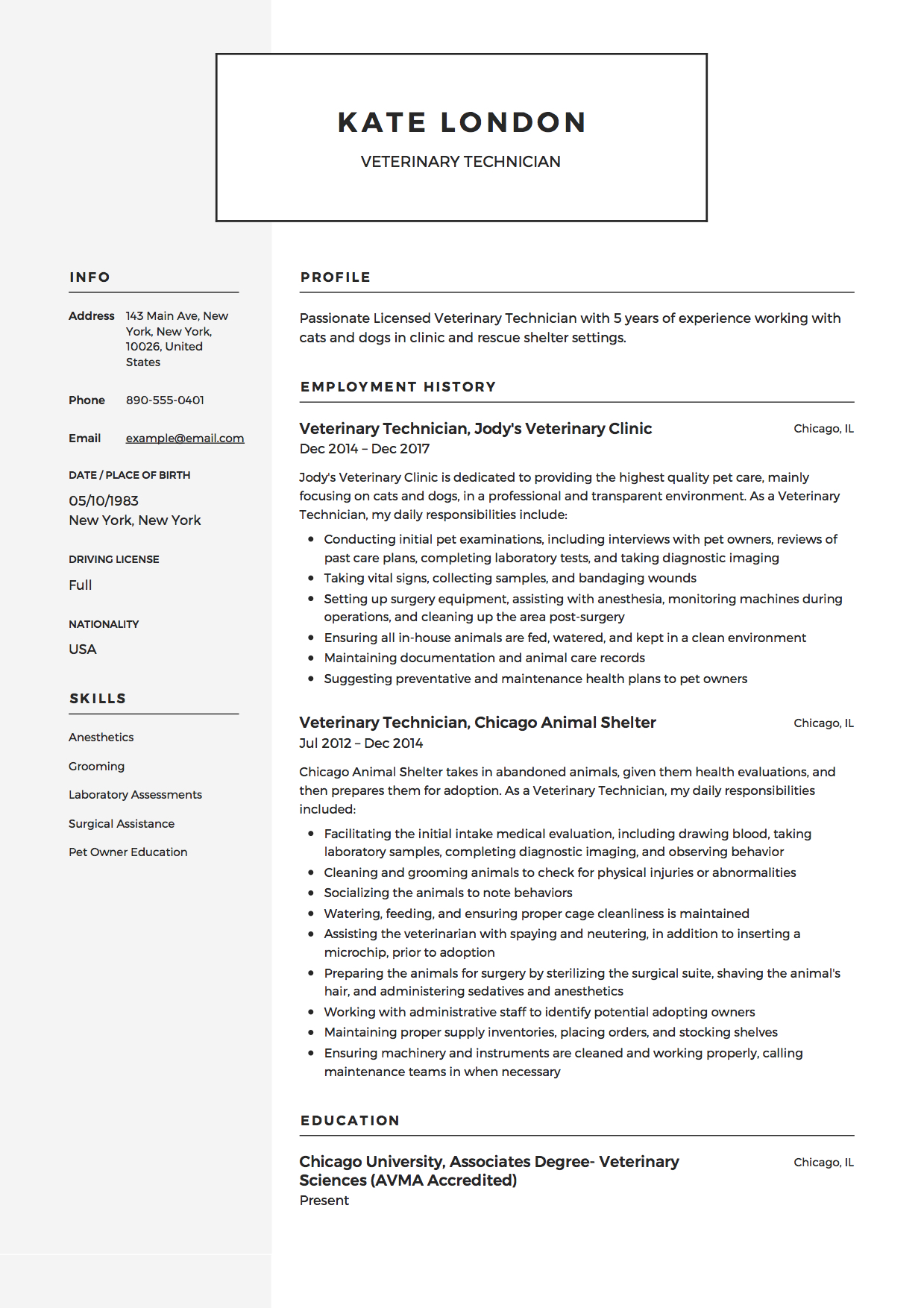 Veterinary Technician Resume Example