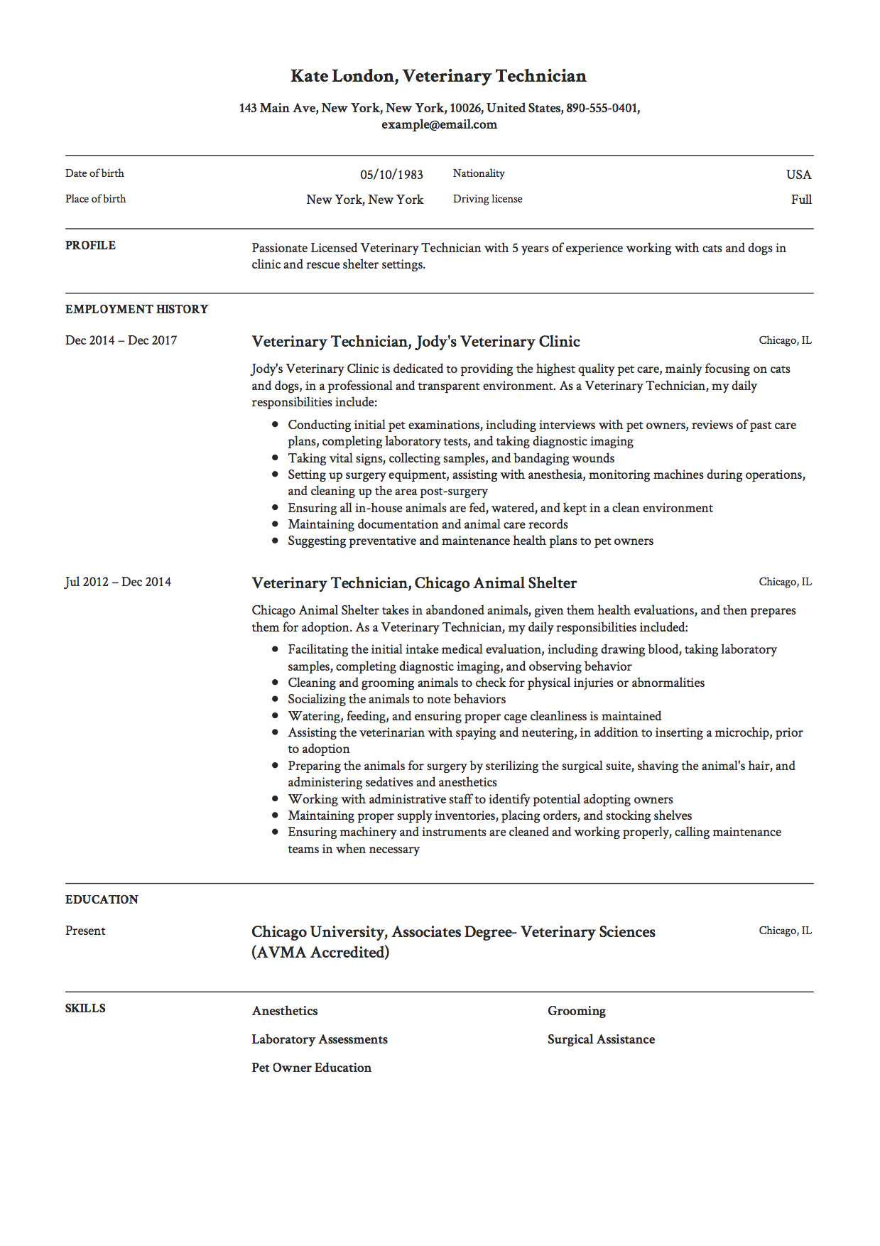 Veterinary Technician Resume Template