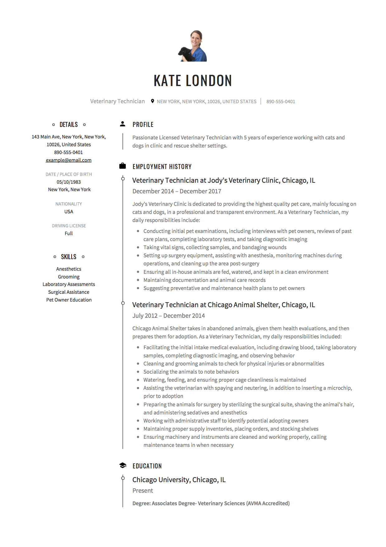 12 Veterinary Technician Resume Samples 2018 Free Downloads