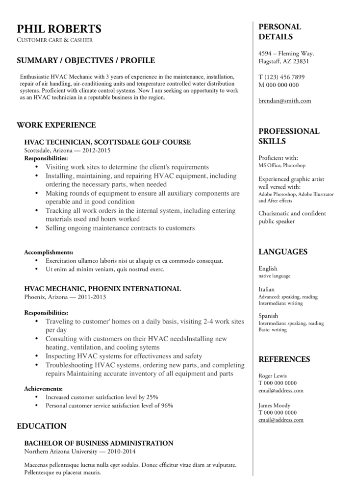 download hvac technician resume in docx