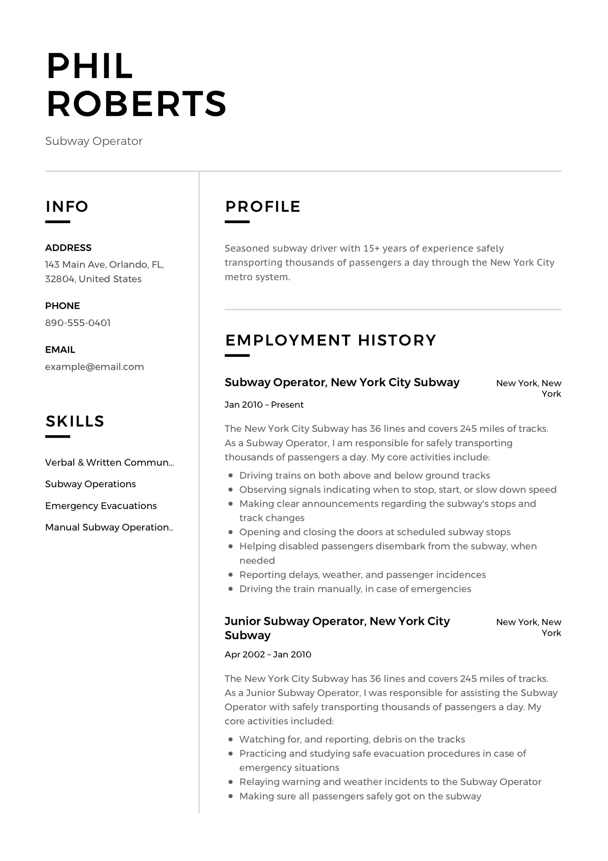 Design Resume Subway Operator