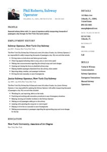 resume for subway - Selo.l-ink.co