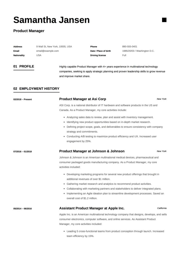 Product Manager Resume Sample Design