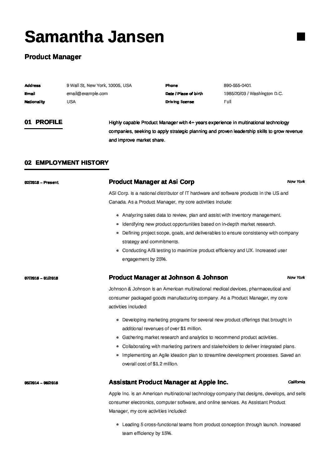 Product Manager Resume Resume 12 Samples Pdf 2019