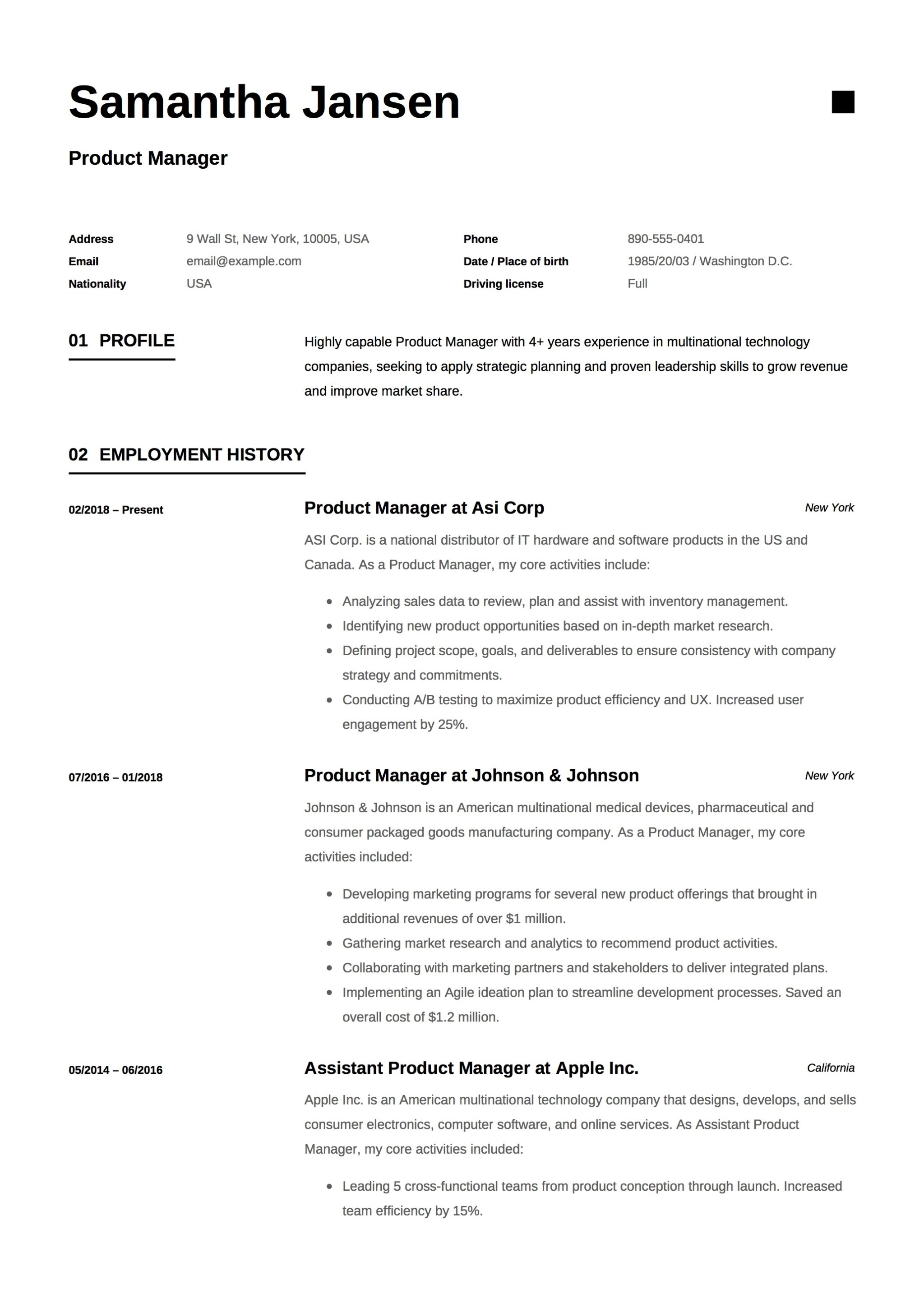 product manager resume sample design - Product Line Manager Resume Sample
