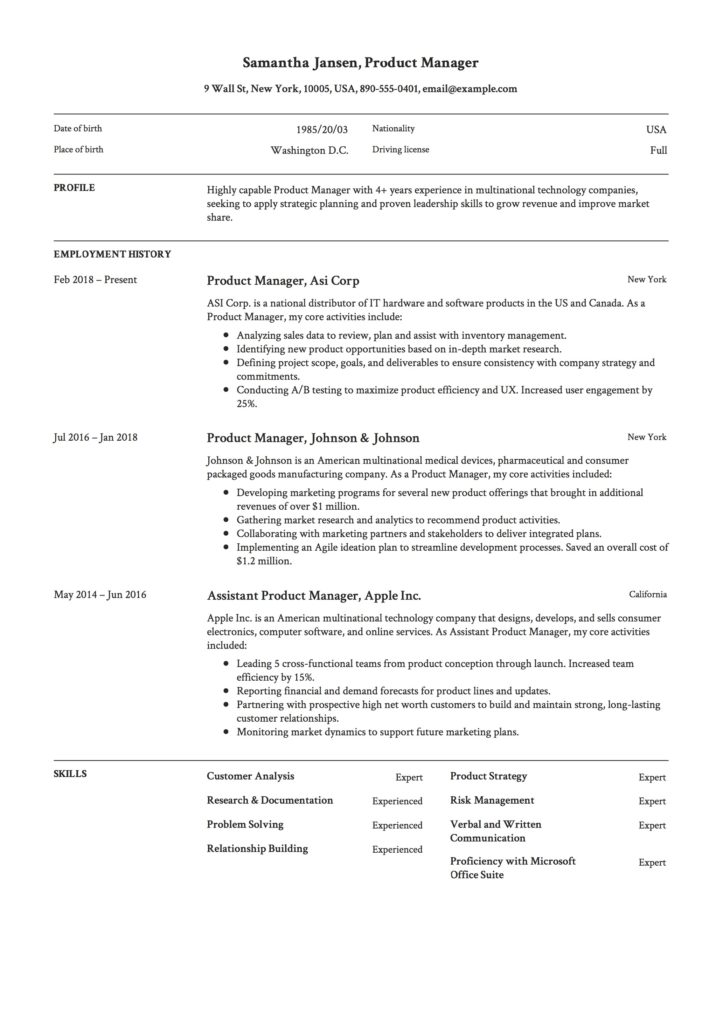 Product Manager Resume Sample Example