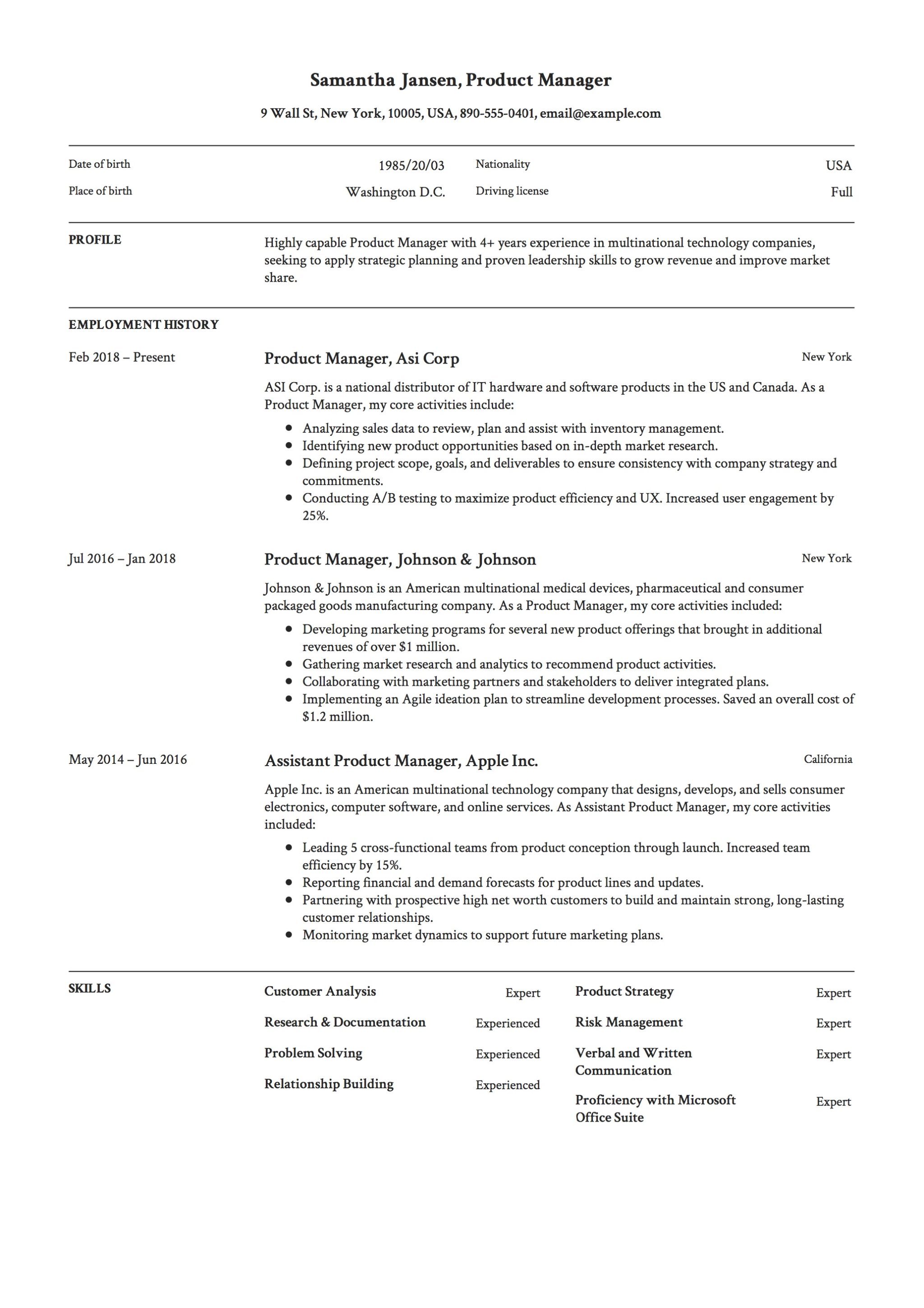 12 product manager resume sample s 2018 free downloads