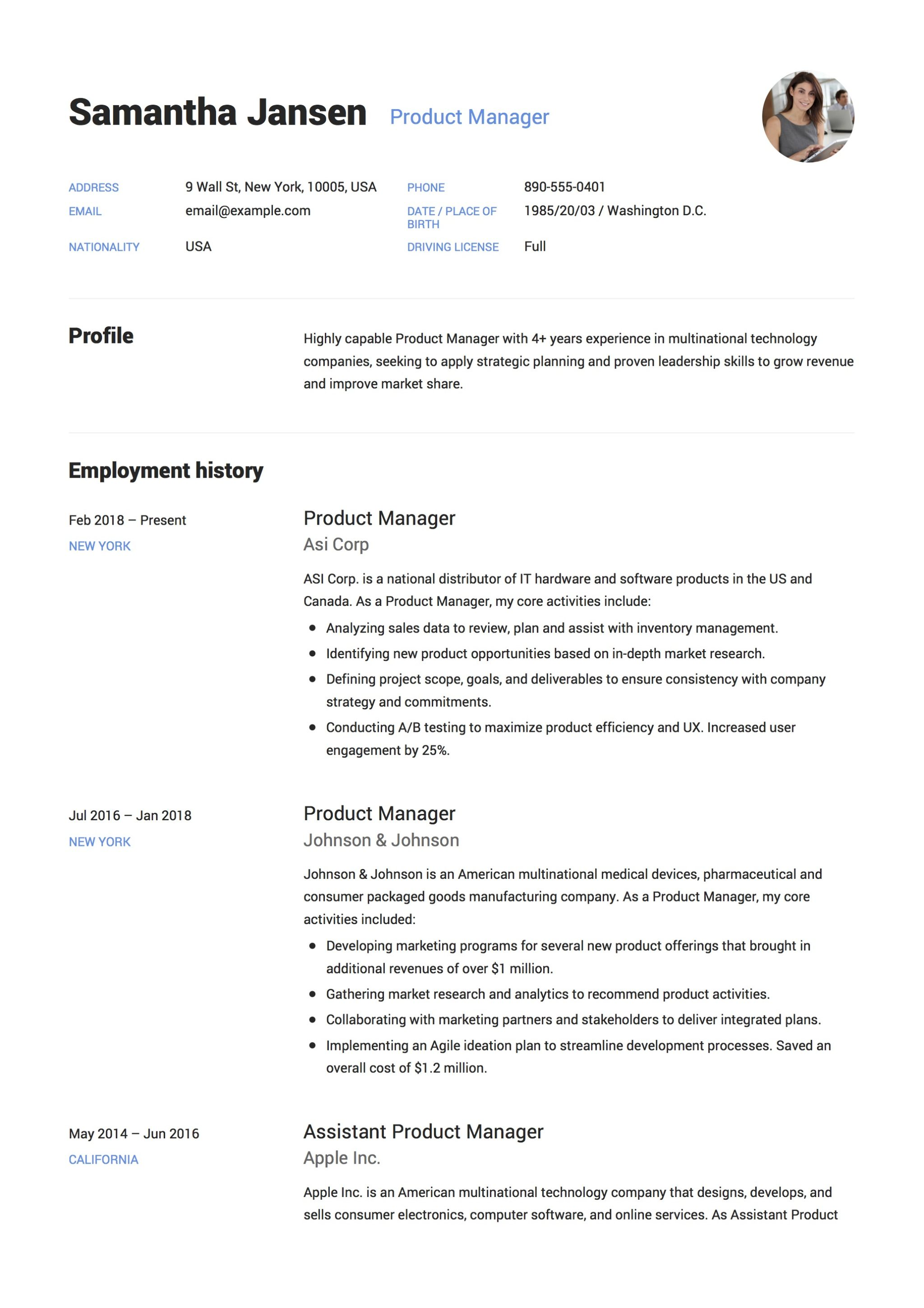 product manager resume resume     12 samples