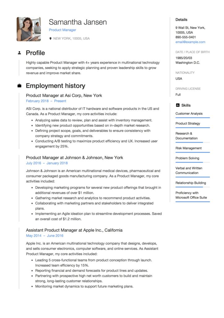 Product Manager Resume Resume [ + 12 Samples ] | PDF | 2019