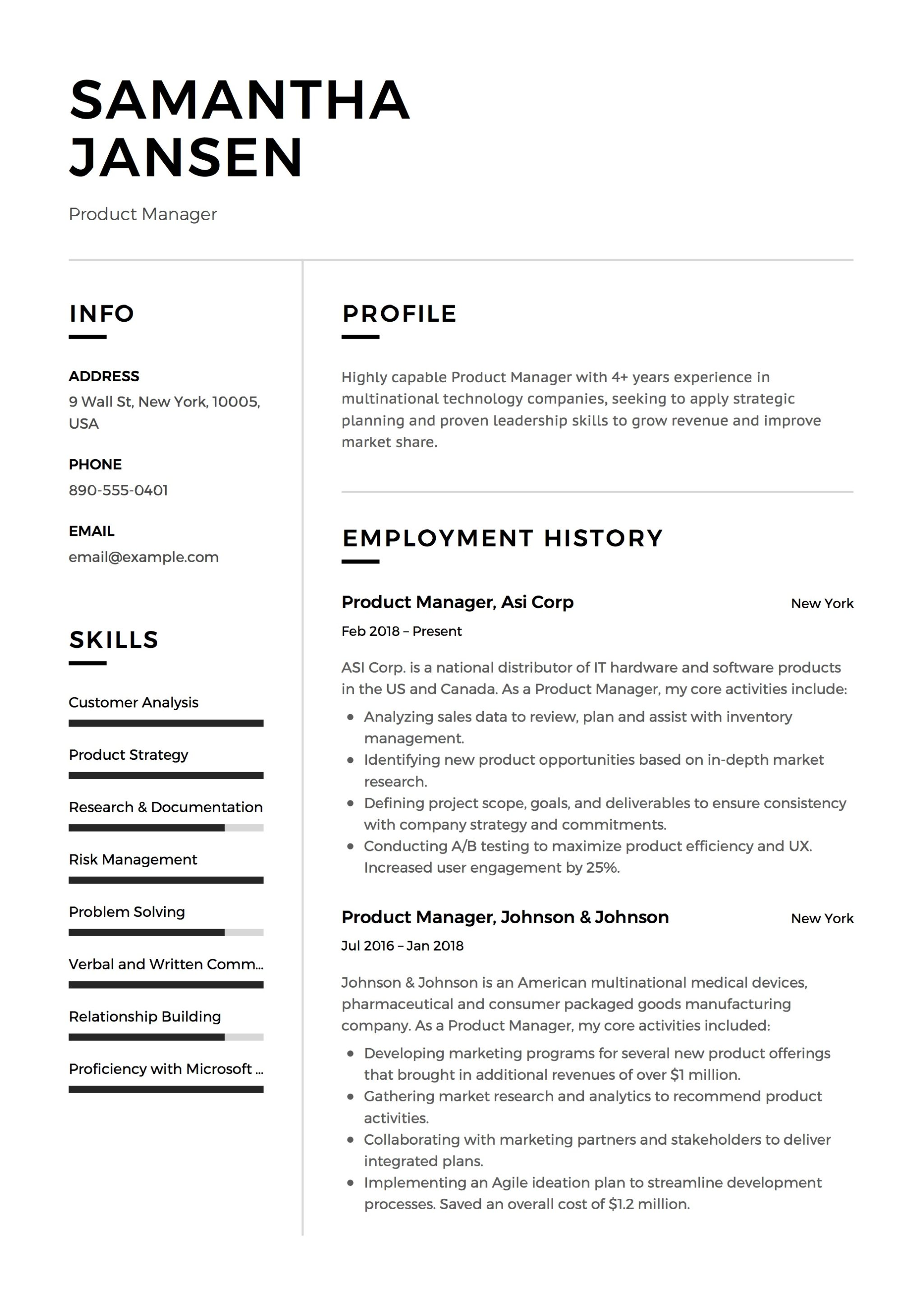 product manager resume samples