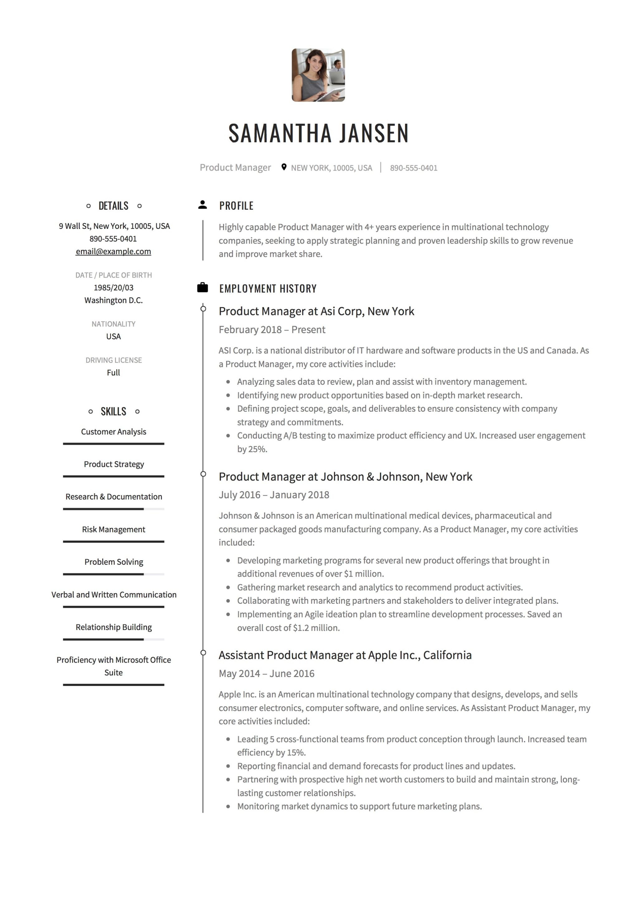 resume sample product manager - Resume Sample Of Product Manager