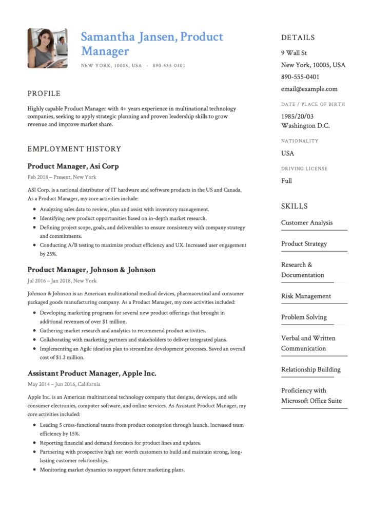 Product Manager Resume 12 Samples