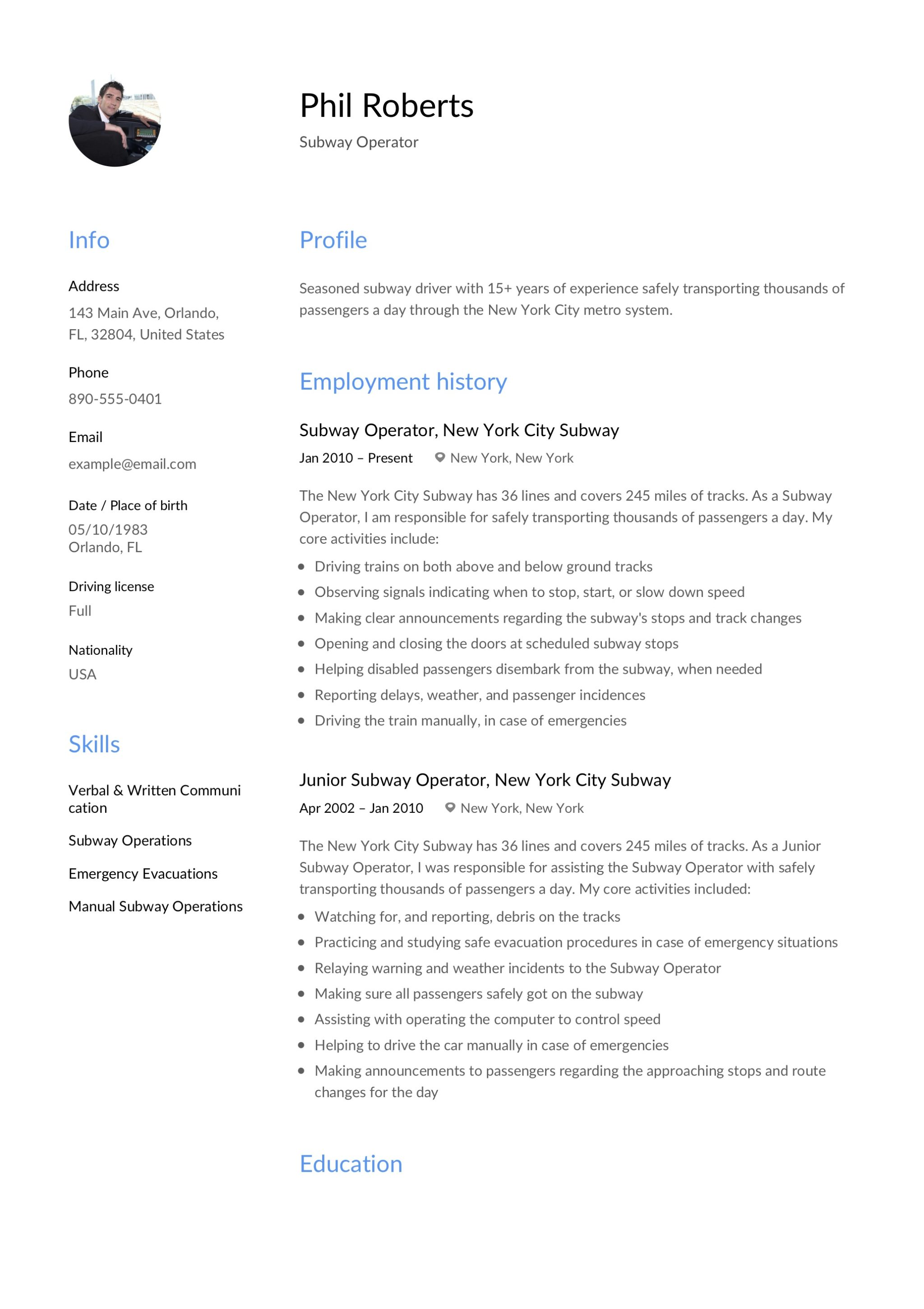 Subway Operator Example Resume  Subway Resume
