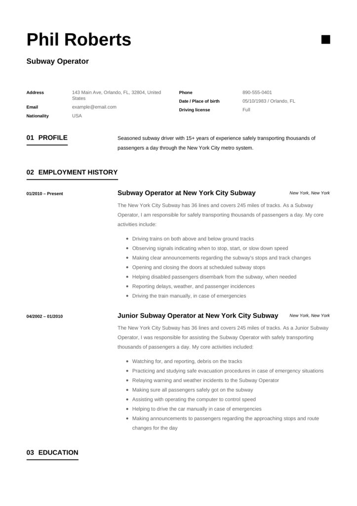 subway operator resume     12 samples