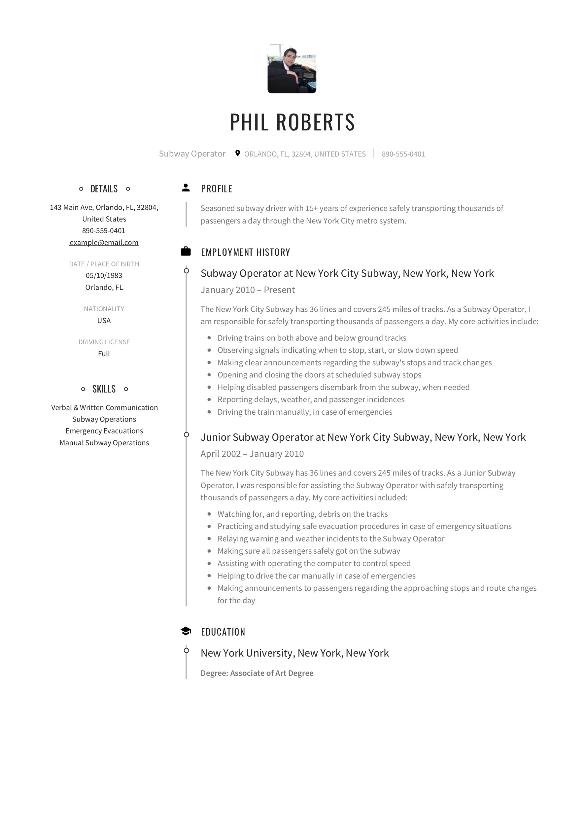 12 subway operator resume sample s