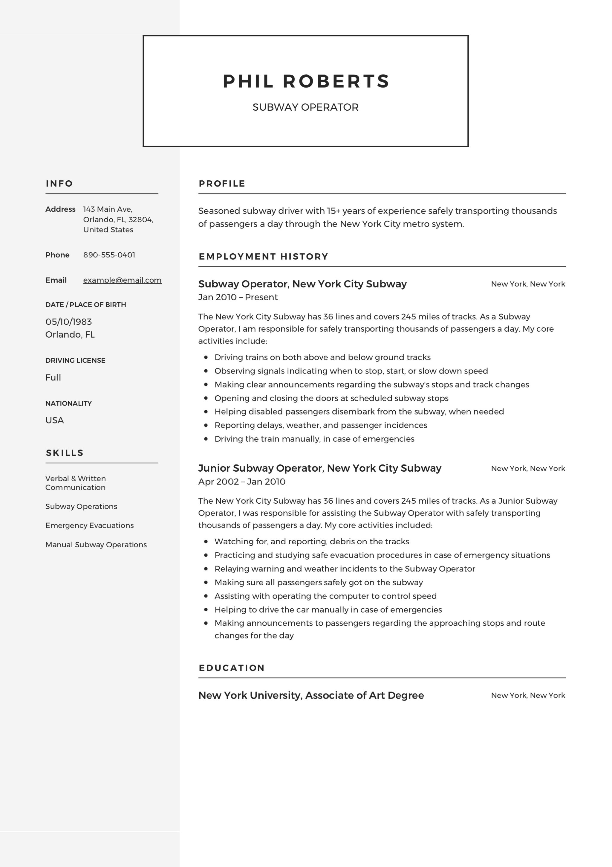 Subway Operator Sample Resume  Subway Resume