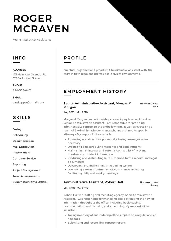 Administrative Assistant Design Resume