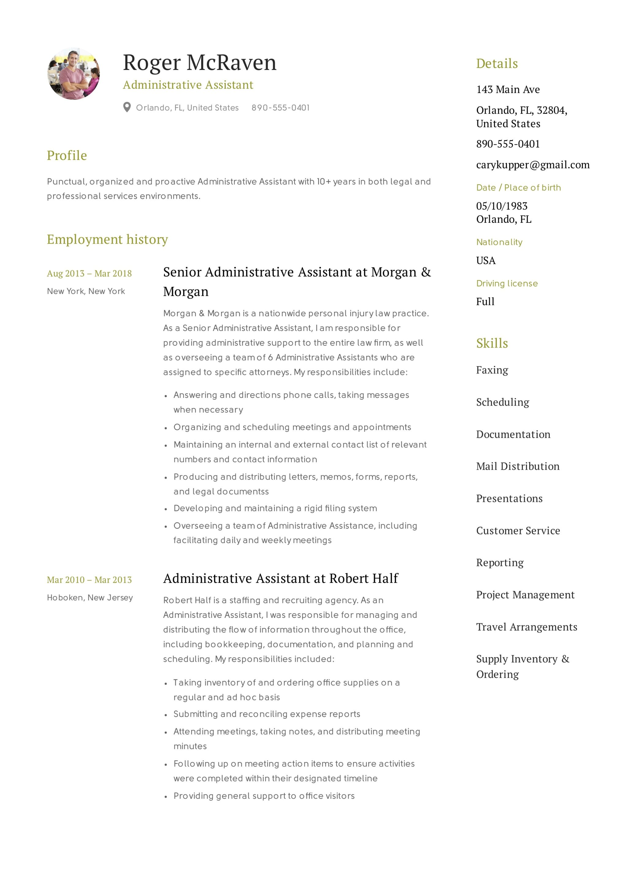 Administrative Assistant Resume Sample Senior
