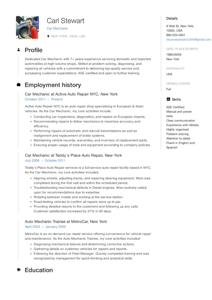 Car Mechanic Resume Sample Carl Stewart