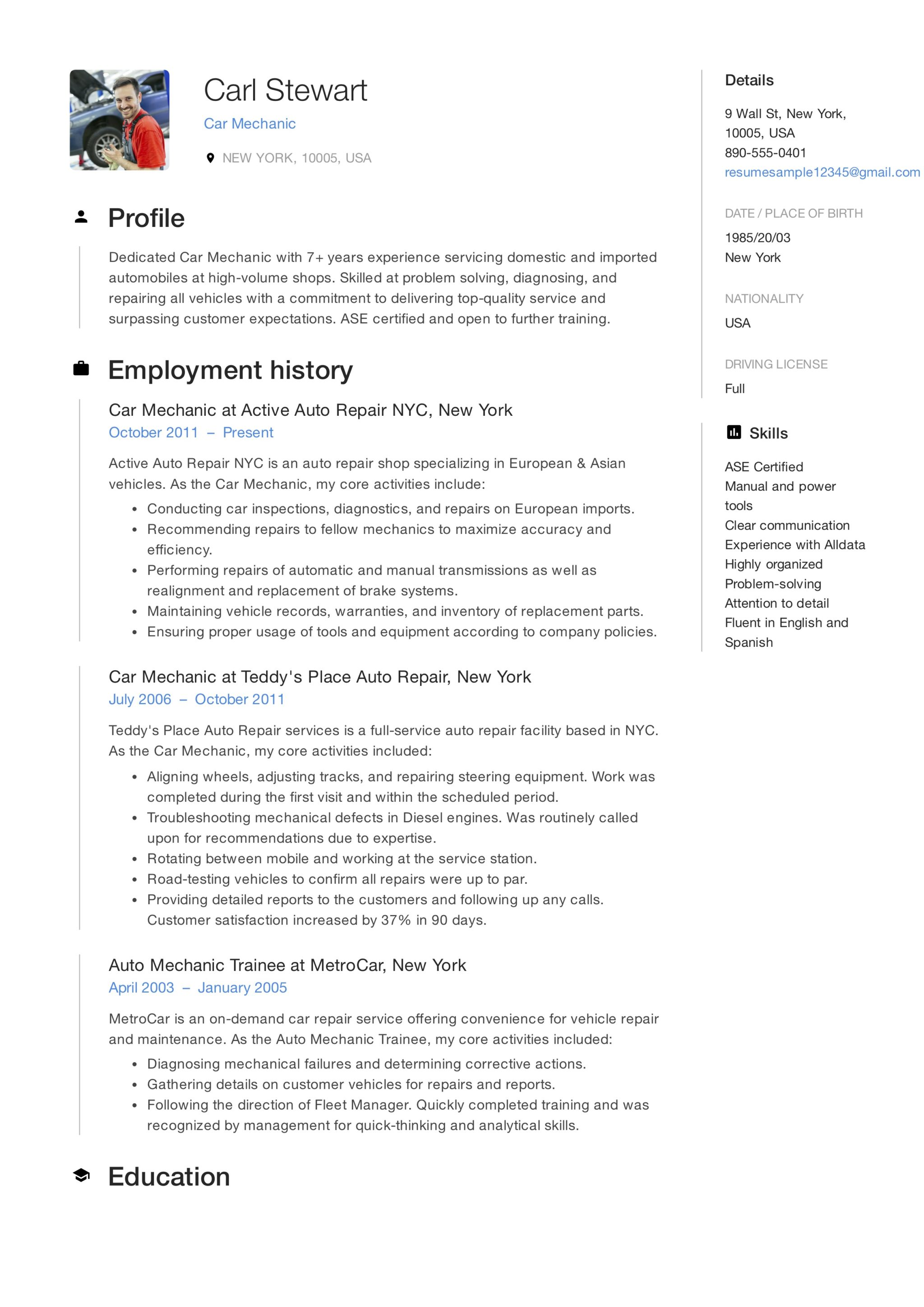 12 Car Mechanic Resume Sample(s) - 2018 (Free Downloads)