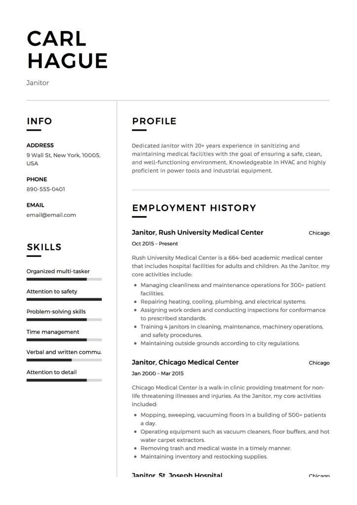 Full Guide Janitor Resume Example 12 Samples