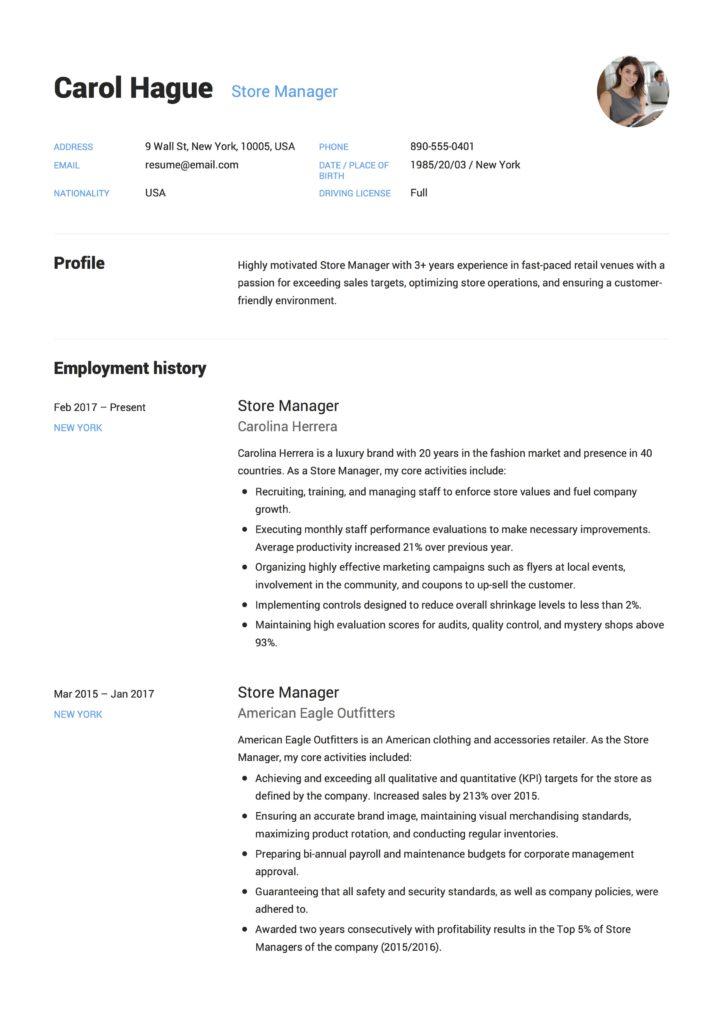 Carol Hague - Resume - Store Manager