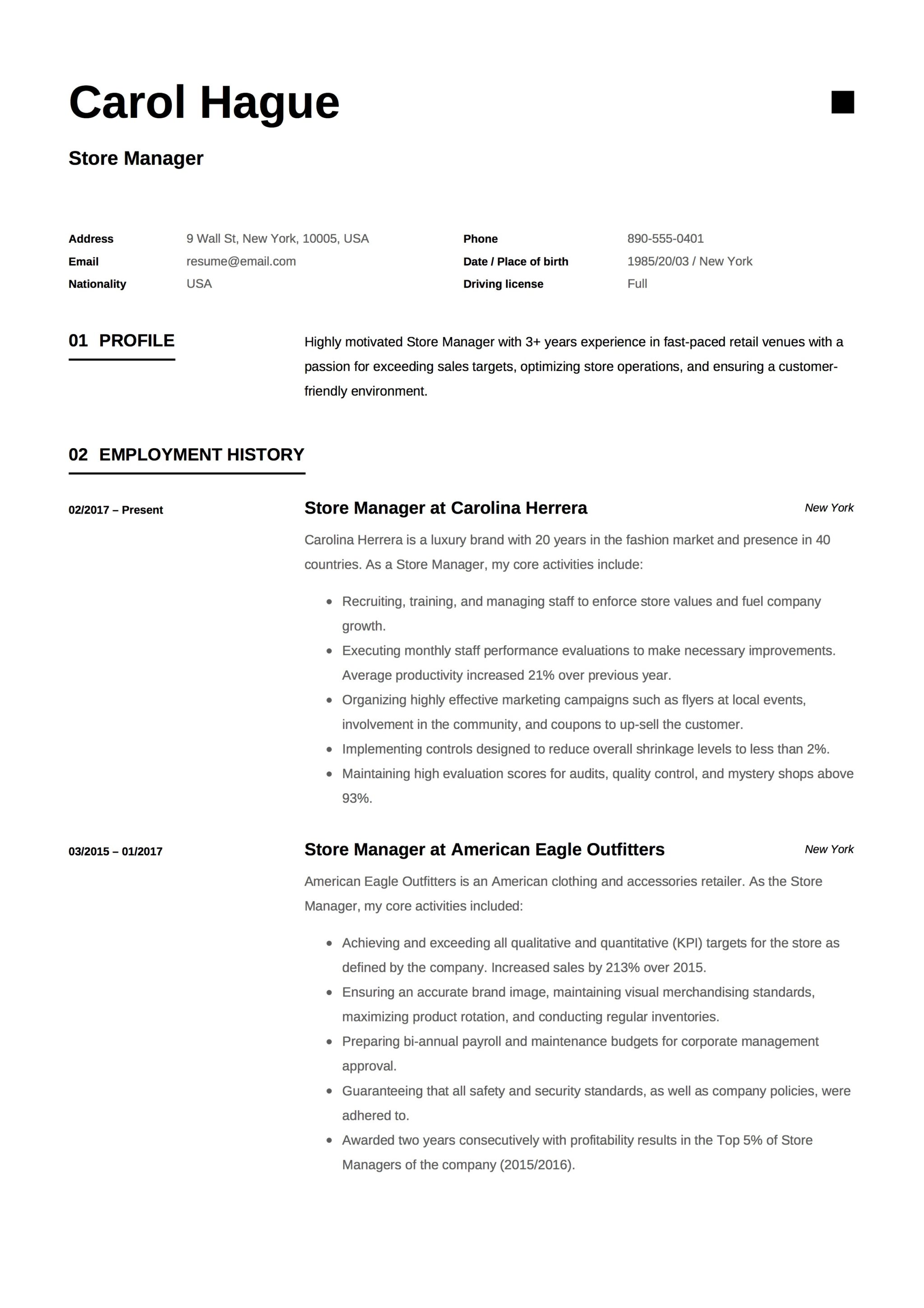 Example Of Manager Resume | Full Guide Store Manager Resume 12 Samples Pdf Word 2019